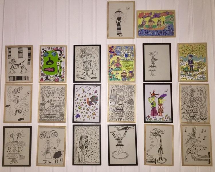 Elin Margrethe Wersland har illustrert begge Skole-Petter Anna bøkene. Her ser vi et utvalg av tegningene.