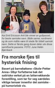 Kai Emil Ericsson Anti ble den aller første vinneren av det samiske gullpasset. Her står han sammen med Skole-Petter Anna duen; Anna Anita Guttorm og Elin Margrethe Wersland. Skjermbilde av Ságat-artikkel, gitt ut 10.april 2018.