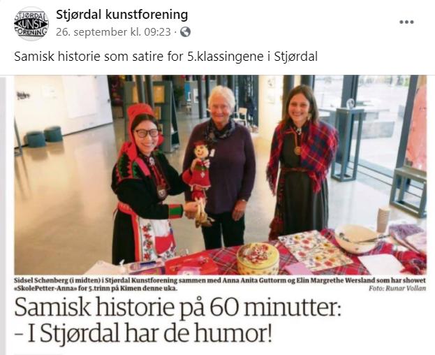 """Avisen Bladet omtalte, 26.09.20, Skole-Petter Anna Talkshow under Voi, Voi, Vi er på utstilling!"""": """" Samisk historie på 60 minutter: - I Stjørdal har de humor!"""""""