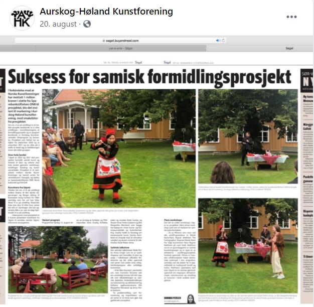 """Skjermbilde: Aurskog Høland Kunstforenings innlegg på Facebook, 20.august 2020: """"Suksess for samisk formidlingsprosjekt"""", omtale i avisen Ságat."""