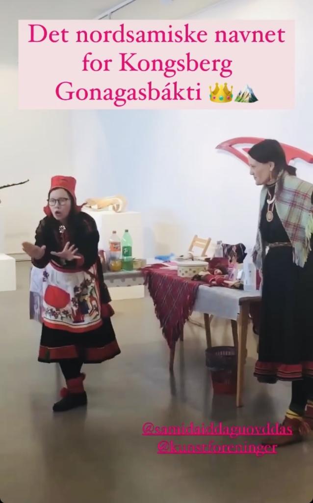 """Skjermbilde: Kongsberg Kunstforening fortalte via Instagram om byens nye (uoffisielle) samiske navn gitt av """"Skole-Petter Anna""""."""